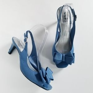Coach and Four Blue Bow Slingback Kitten Heels 9